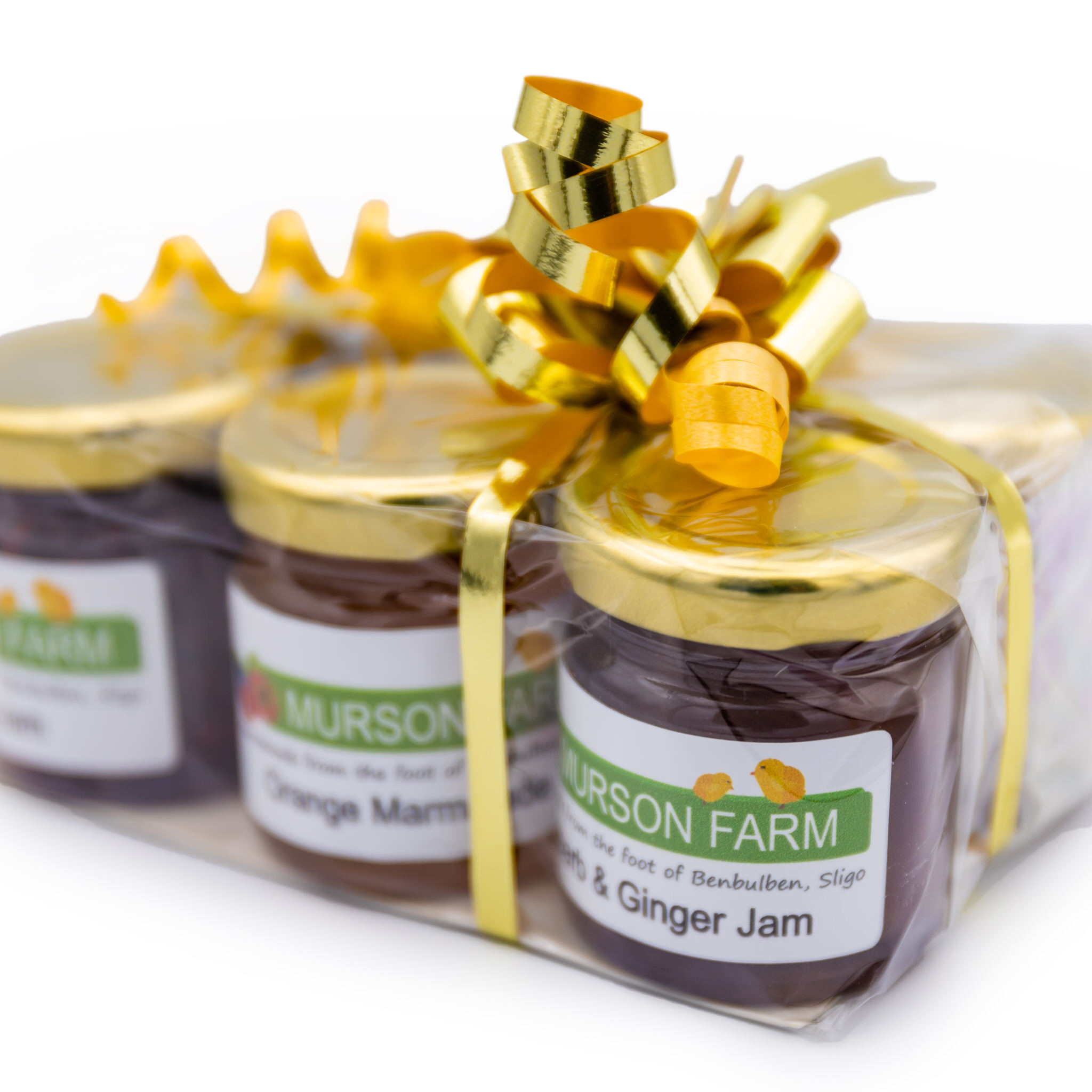 Hamper of 6 jams tied with a bow