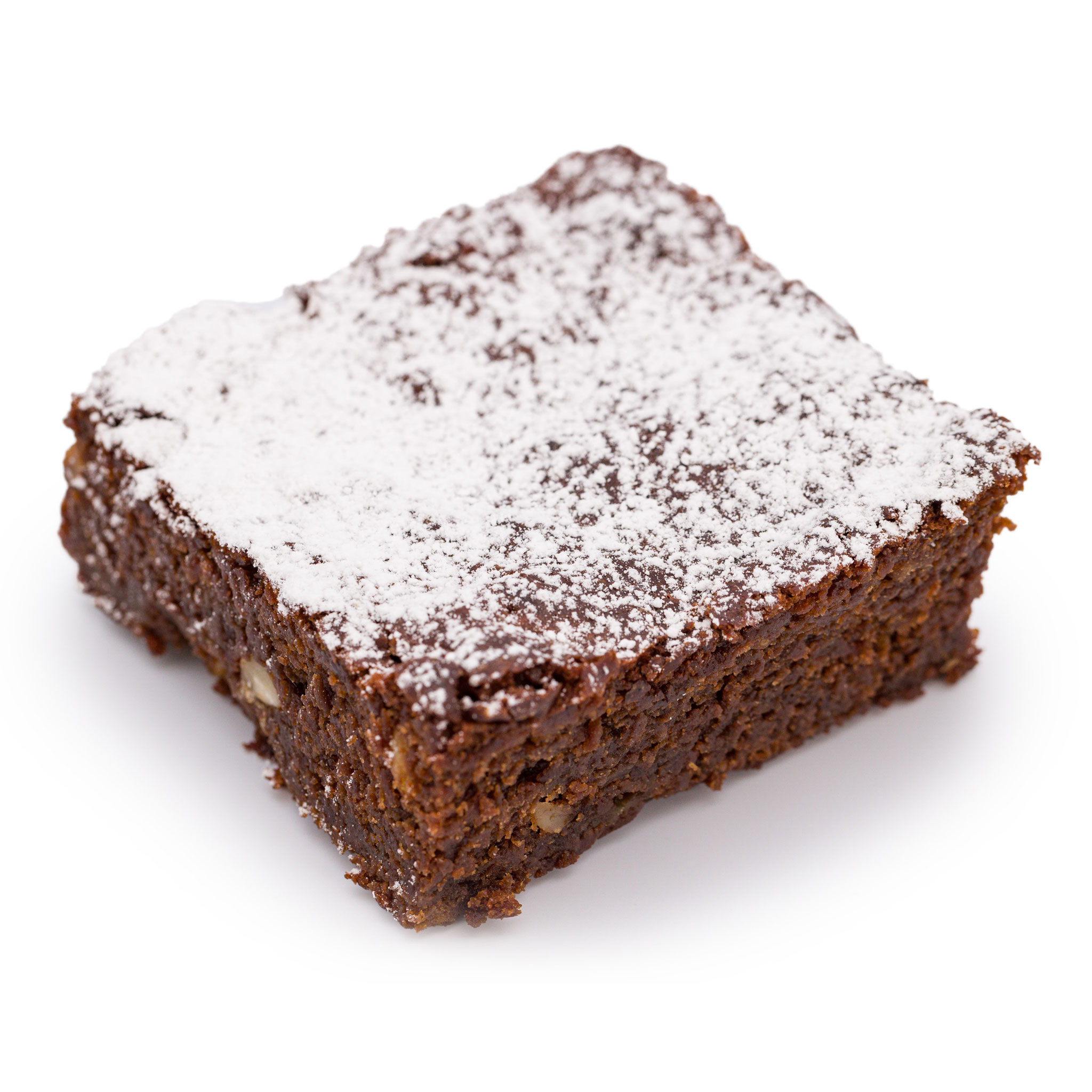 Banana nut brownie with icing sugar on white background