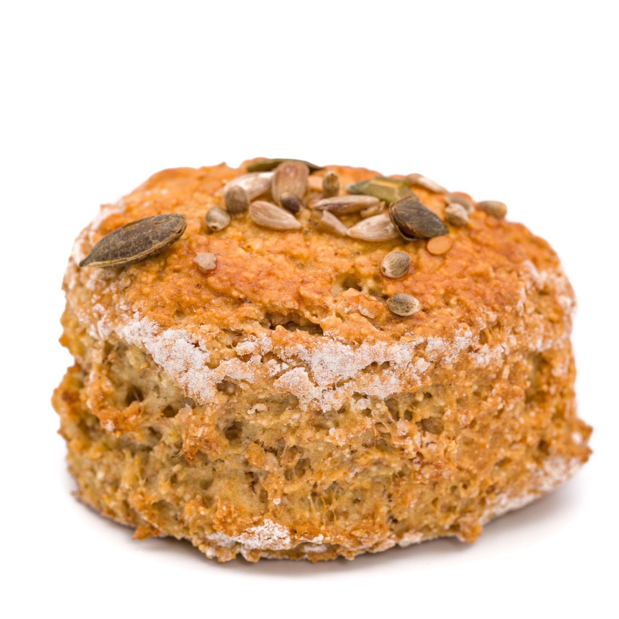brown bread scones on white background