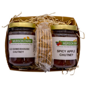 Hamper of two jars of chutney and a packet of crackers