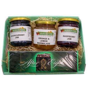 Hamper of 3 jams and a pack of After Eight chocolates on white background