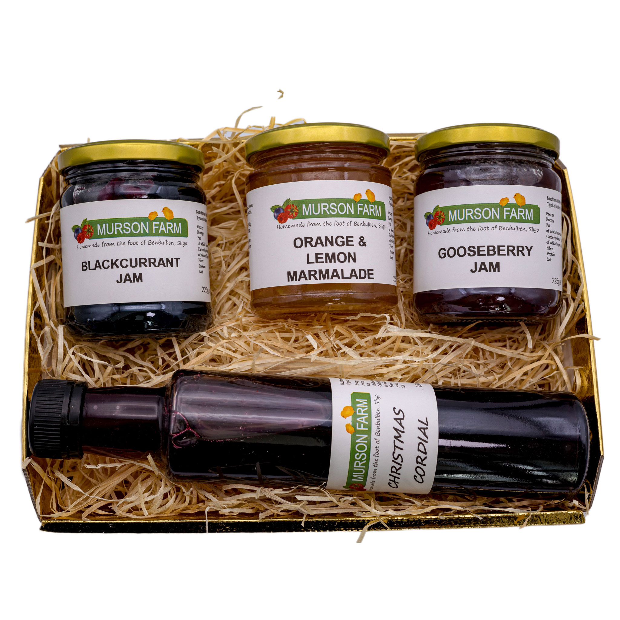 Hamper with three jams and bottle of cordial on white background