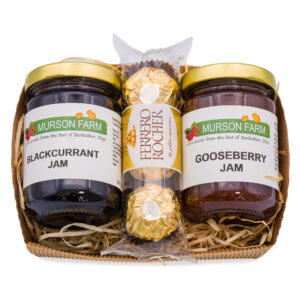 Hamper of two jams and packet of ferrero rochers